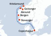 Copenhague, Navigation, Stavanger, Bergen, Alesund, Geiranger, Navigation, Kristiansand, Copenhague