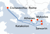 Rome, Navigation, Santorin, Mykonos, Athènes, Katakolon, Navigation, Rome