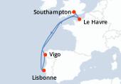 Southampton, Le Havre, Navigation, Navigation, Lisbonne, Vigo, Navigation, Southampton