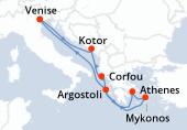 Venise, Kotor, Corfou, Athènes, Mykonos, Argostoli, Navigation, Venise