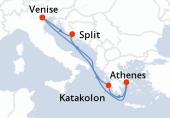 Venise, Split, Navigation, Athènes, Katakolon, Navigation, Venise