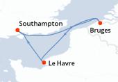 Southampton, Bruges (Zeebruges), Le Havre, Southampton
