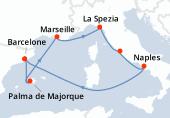 Barcelone, Palma de Majorque, Navigation, Marseille, La Spezia, Rome, Naples, Navigation, Barcelone