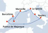 Barcelone, Palma de Majorque, Marseille, La Spezia, Rome, Naples, Navigation, Valence, Navigation, Barcelone