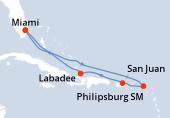 Miami, Navigation, Navigation, Saint-Martin, Porto Rico, Haïti, Navigation, Miami