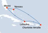 Miami, Navigation, Haïti, Navigation, Charlotte Amalie, Navigation, Nassau, Miami