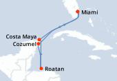 Miami, Navigation, Cozumel, Roatán, Costa Maya, Navigation, Miami