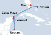 Miami, Nassau, Navigation, Cozumel, Roatán, Costa Maya, Navigation, Miami