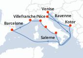Barcelone, Villefranche/Nice, Florence et Pise, Rome, Salerne, Navigation, Venise, Venise, Ravenne, Kotor, Navigation, Navigation, Barcelone
