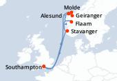 Southampton, Navigation, Molde, Geiranger, Alesund, Flam, Stavanger, Navigation, Southampton