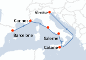 Barcelone, Cannes, Rome, Salerne, Catane, Navigation, Venise
