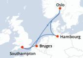 Southampton, Navigation, Hambourg, Navigation, Oslo, Navigation, Bruges (Zeebruges), Southampton