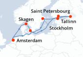 Amsterdam, Navigation, Skagen, Navigation, Tallinn, Saint-Pétersbourg, Saint-Pétersbourg, Helsinki, Stockholm, Navigation, Copenhague, Navigation, Amsterdam
