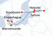 Copenhague, Aarhus, Warnemunde, Navigation, Helsinki, Saint-Pétersbourg, Saint-Pétersbourg, Saint-Pétersbourg, Tallinn, Stockholm, Stockholm