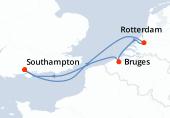 Southampton, Rotterdam, Bruges (Zeebruges), Southampton