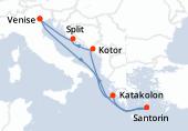 Venise, Navigation, Katakolon, Santorin, Navigation, Kotor, Split, Venise