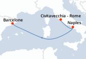 Rome, Naples, Navigation, Barcelone