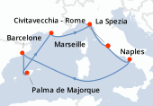 Rome, Naples, Navigation, Barcelone, Palma de Majorque, Marseille, La Spezia, Rome