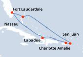 Fort Lauderdale, Nassau, Navigation, Charlotte Amalie, Porto Rico, Haïti, Navigation, Fort Lauderdale