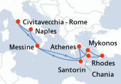 Rome, Messine, Navigation, Mykonos, Rhodes, Santorin, Athènes, Chania, Navigation, Naples, Rome