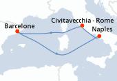 Barcelone, Navigation, Naples, Rome, Navigation, Barcelone