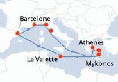 Barcelone, Cannes, Florence et Pise, Rome, Navigation, Navigation, Athènes, Mykonos, Santorin, Navigation, La Valette, Navigation, Barcelone
