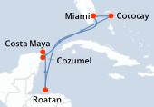 Miami, Navigation, Roatán, Costa Maya, Cozumel, Navigation, CocoCay®, Miami