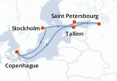 Copenhague, Navigation, Stockholm, Tallinn, Saint-Pétersbourg, Helsinki, Navigation, Copenhague