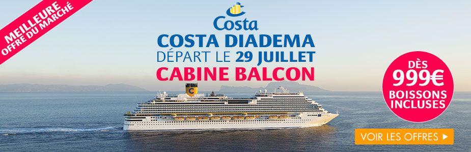 Exclusivité croisierenet - Costa Diadema : Dernières cabines